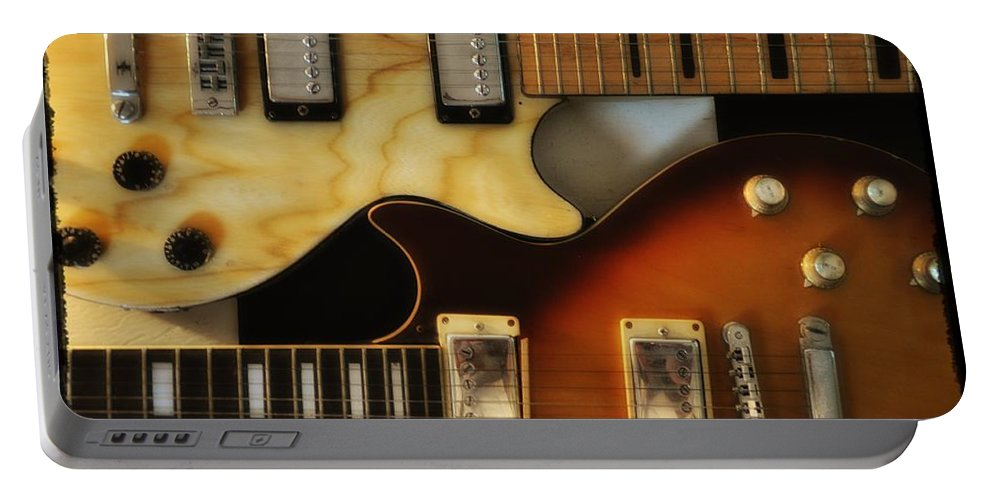 Les Paul Portable Battery Charger featuring the photograph Les Paul - Come Together by Bill Cannon