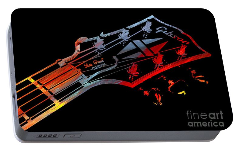 Les Paul Portable Battery Charger featuring the digital art Les Paul Custom by Michael Bergman