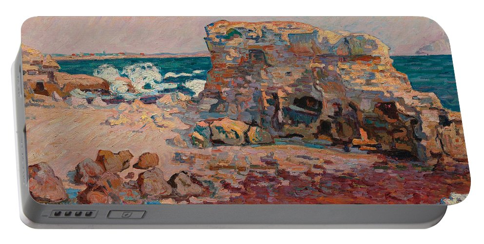 Jean-baptiste Armand Guillaumin Portable Battery Charger featuring the painting Les Rochers A Saint Palais by Jean-Baptiste Armand Guillaumin
