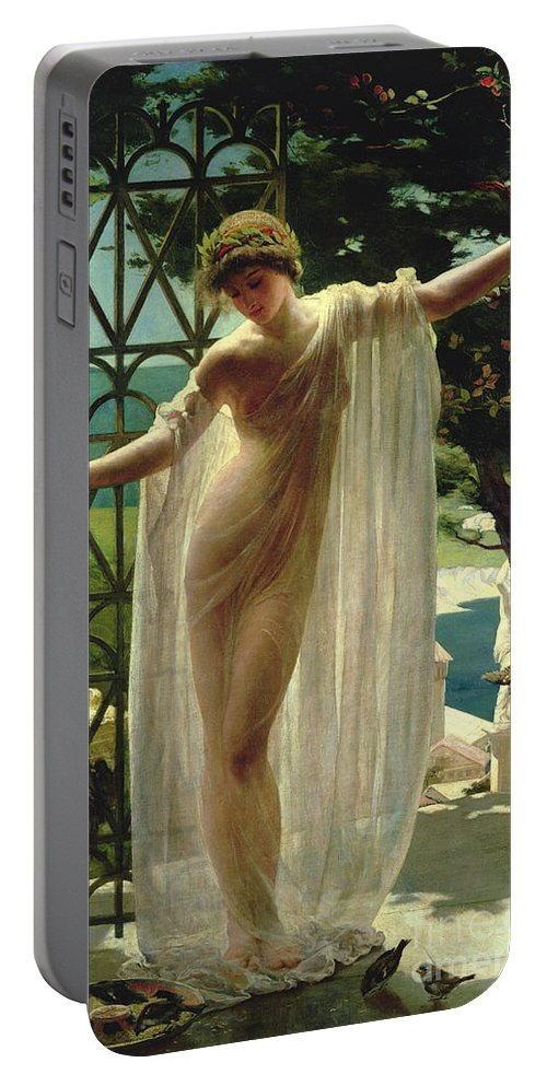 Lesbia Portable Battery Charger featuring the painting Lesbia by John Reinhard Weguelin