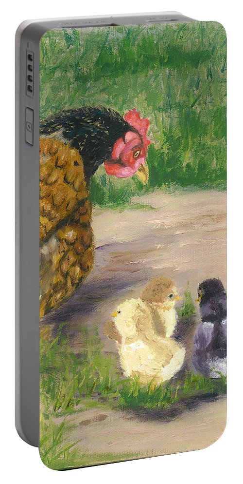 Cickens Chicks Hen Barnyard Bantams Farm Bucolic Nature Portable Battery Charger featuring the painting Lesson Time by Paula Emery