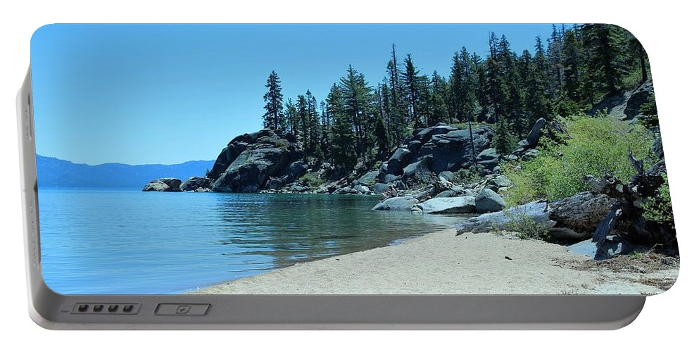 Beach Portable Battery Charger featuring the photograph Lester Beach Lake Tahoe by Thomas Burnett