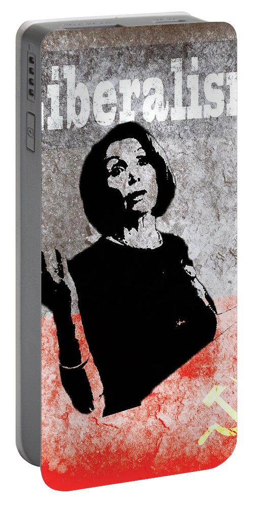 Pelosi; Liberalism; Communism Portable Battery Charger featuring the digital art Let It Burn by Evan KNIGHT