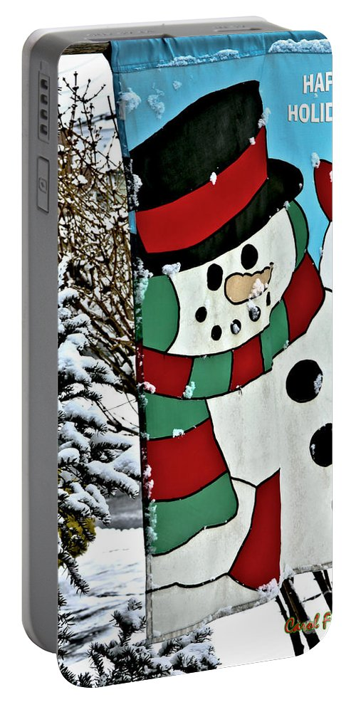 Let It Snow Portable Battery Charger featuring the photograph Let It Snow - Happy Holidays by Carol F Austin