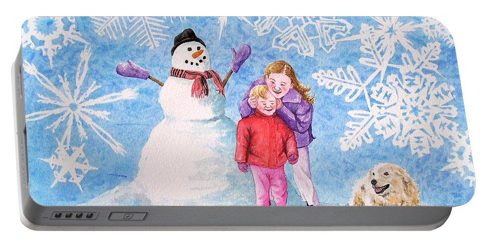 Snowman Portable Battery Charger featuring the painting Let it Snow by Gale Cochran-Smith