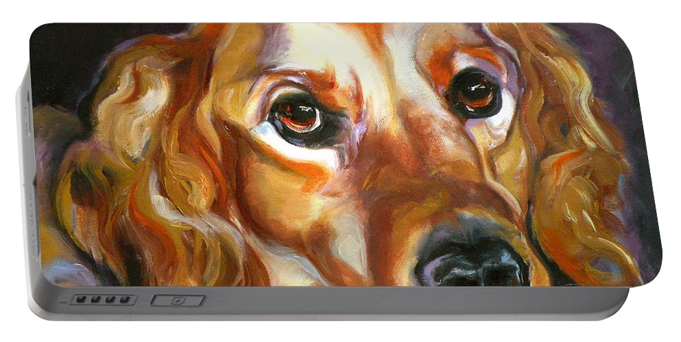Oil Portable Battery Charger featuring the painting Let The Sunshine In by Susan A Becker