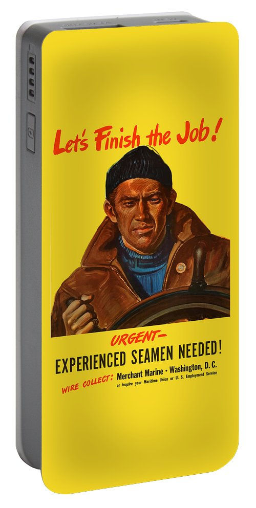 Merchant Marine Portable Battery Charger featuring the painting Let's Finish The Job by War Is Hell Store