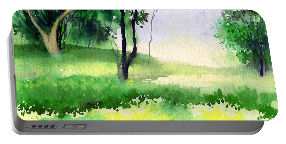 Watercolor Portable Battery Charger featuring the painting Let's Go For A Walk by Anil Nene