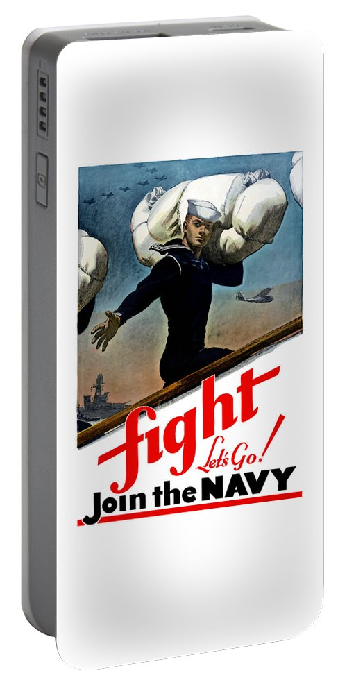Join The Navy Portable Battery Charger featuring the painting Let's Go Join The Navy by War Is Hell Store