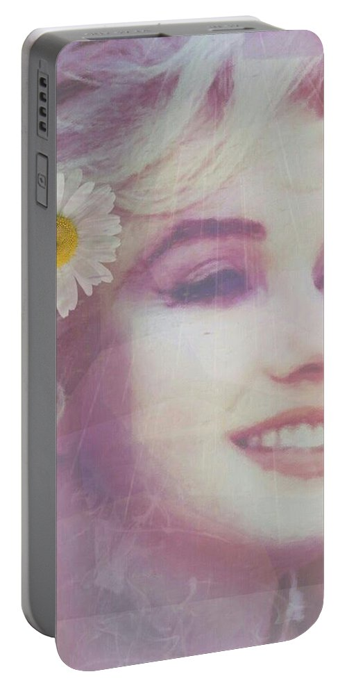 Marilyn Portable Battery Charger featuring the painting Let's Just Live - Fade by Michele Carter