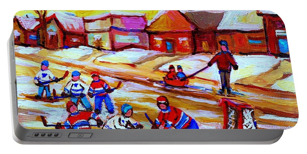 Hockey Canvas Prints Portable Battery Charger featuring the painting Lets Play Hockey by Carole Spandau
