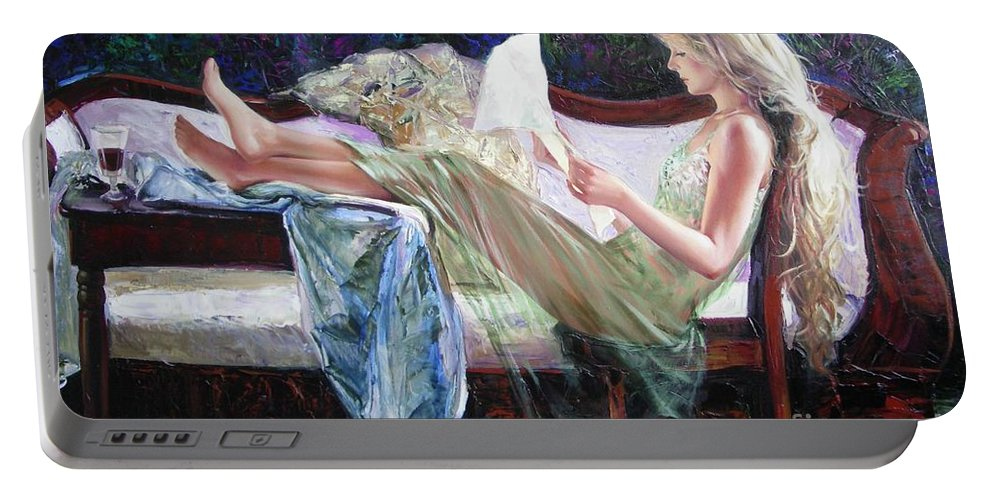 Figurative Portable Battery Charger featuring the painting Letter From Him by Sergey Ignatenko