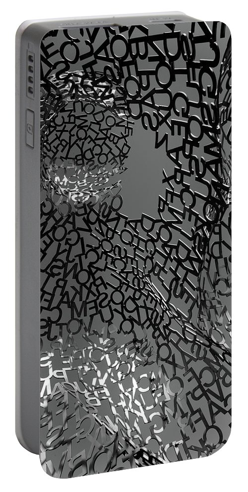 Jaume Plensa Sculpture Literally Letters Metal Construct Inside Black White Portable Battery Charger featuring the photograph Letters Body by Vasyl Molchan