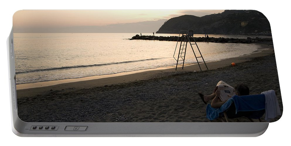Travel Portable Battery Charger featuring the photograph Levanto Beach by Ian Middleton