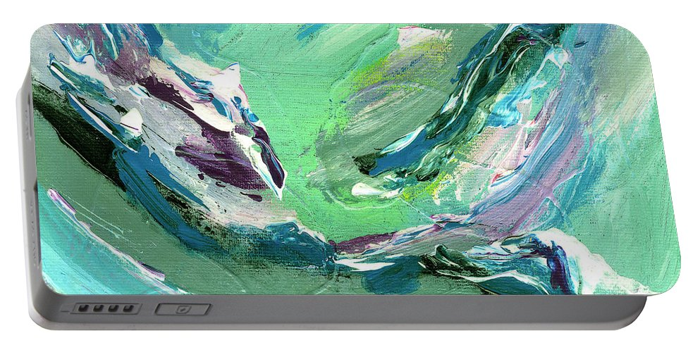 Abstract Portable Battery Charger featuring the painting Levee Breach by Dominic Piperata