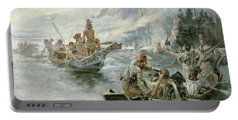 Rivers Portable Battery Charger featuring the painting Lewis And Clark On The Lower Columbia River by Charles Marion Russell