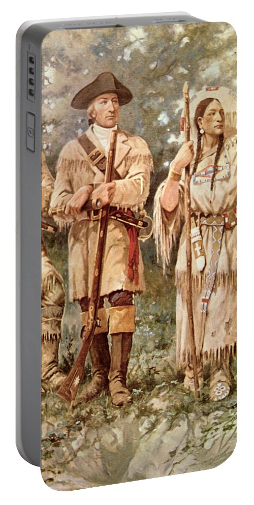 Lewis And Clark Portable Battery Charger featuring the drawing Lewis And Clark With Sacagawea by Edgar Samuel Paxson