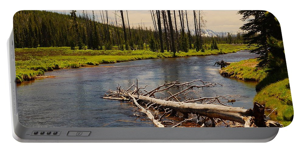 Lewis River Portable Battery Charger featuring the photograph Lewis River by Beth Collins