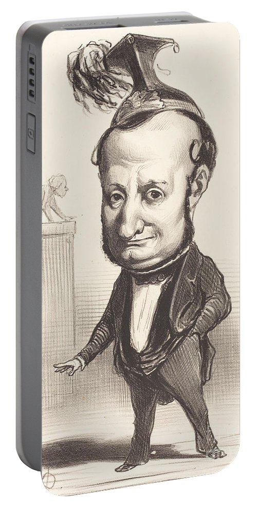 Portable Battery Charger featuring the drawing L.f. Raymond Wolowski by Honor? Daumier