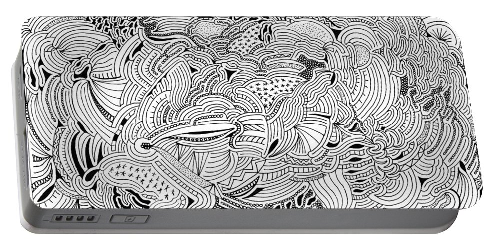 Mazes Portable Battery Charger featuring the drawing Liberation by Steven Natanson