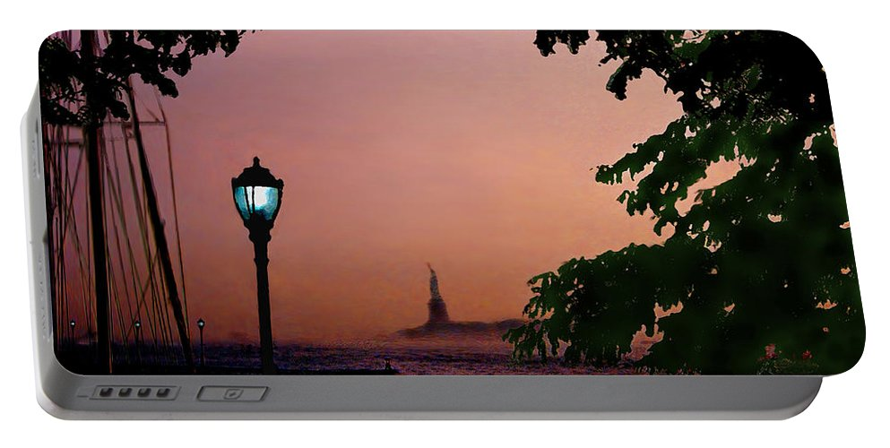 Seascape Portable Battery Charger featuring the digital art Liberty Fading seascape by Steve Karol