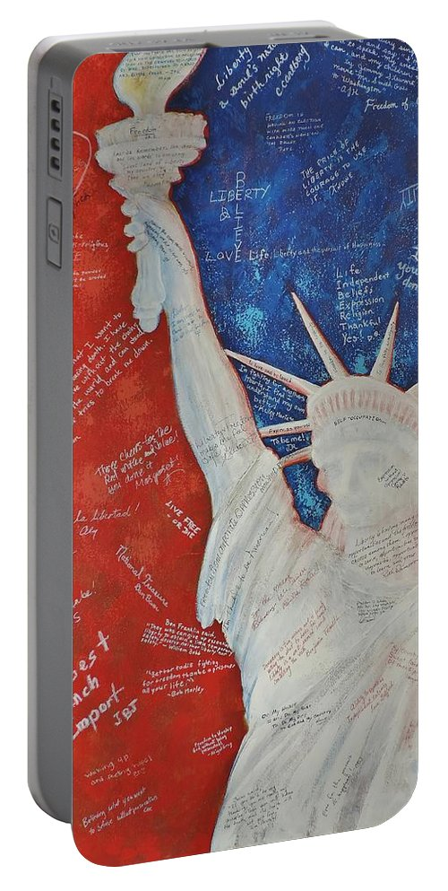 Statue Of Liberty Portable Battery Charger featuring the painting Liberty Is... by Margaret Bobb