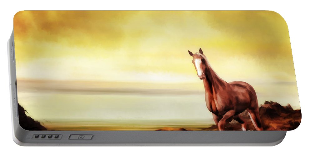 Horse Portable Battery Charger featuring the digital art Liberty by John Edwards