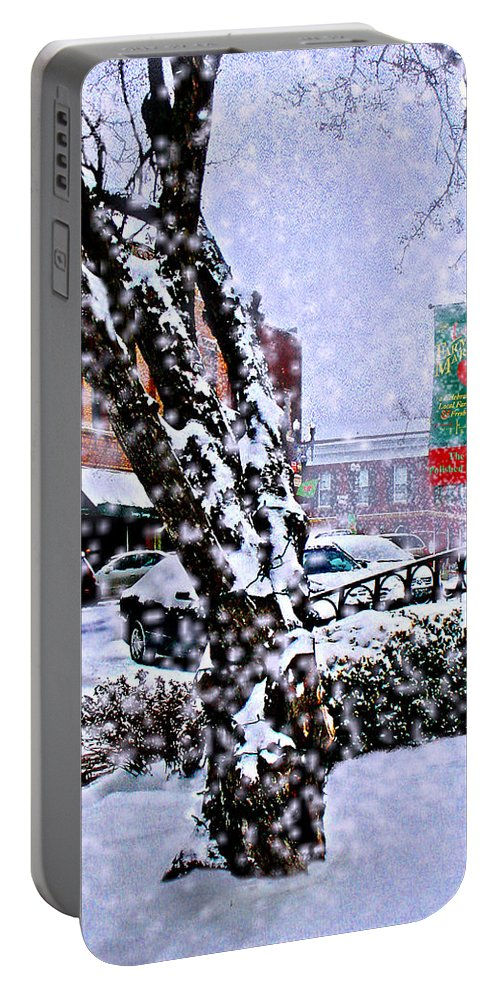 Landscape Portable Battery Charger featuring the photograph Liberty Square In Winter by Steve Karol
