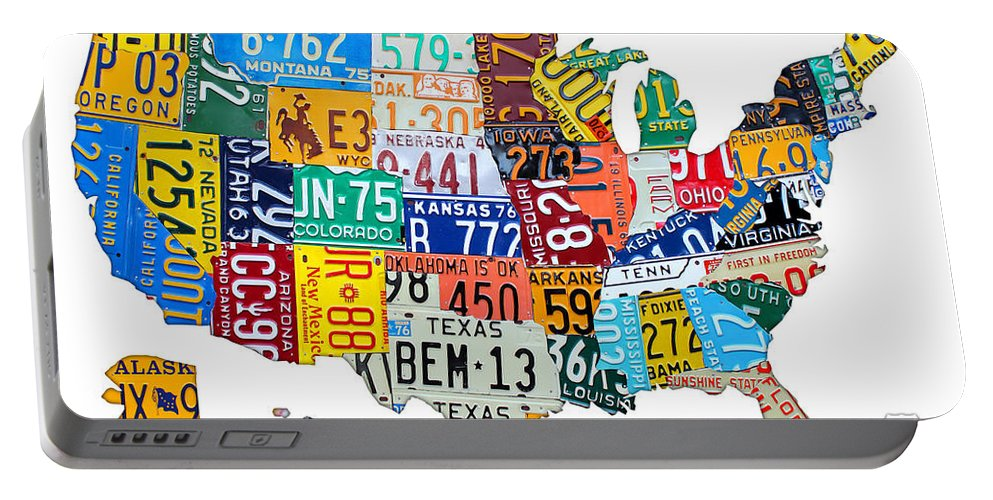 License Plate Map Portable Battery Charger featuring the mixed media License Plate Map Of The United States Outlined by Design Turnpike