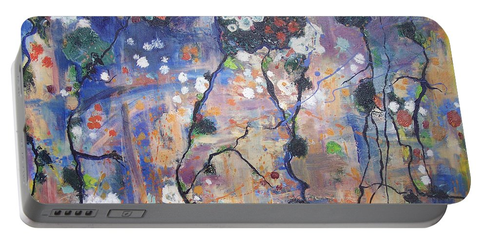 Lichen Paintings Portable Battery Charger featuring the painting Lichen by Seon-Jeong Kim