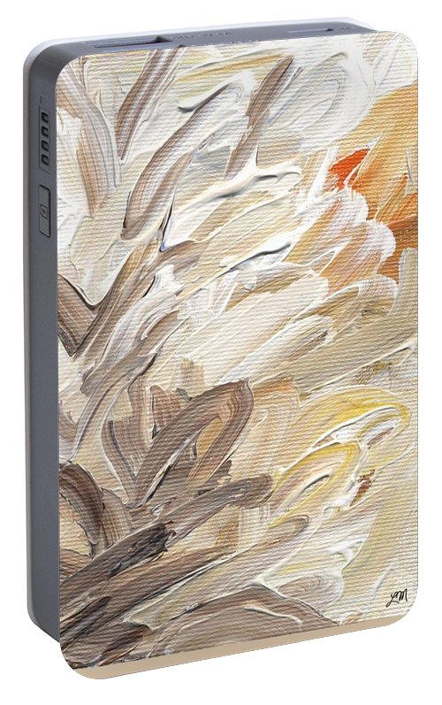 Abstract Portable Battery Charger featuring the painting Life Imagined by Linda Mears