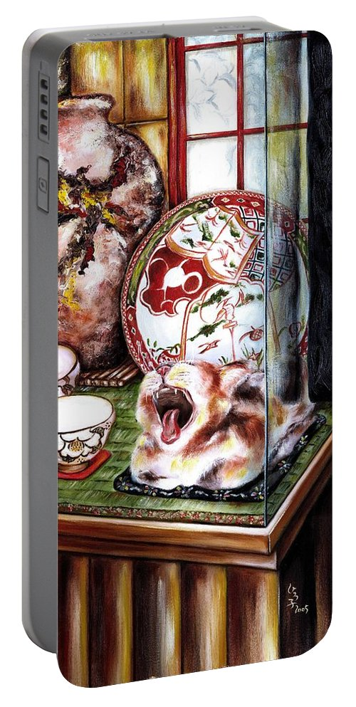Cat Portable Battery Charger featuring the painting Life Is Beautiful by Hiroko Sakai