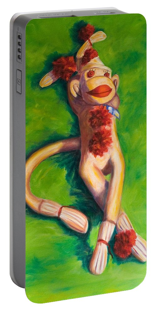 Sock Monkey Portable Battery Charger featuring the painting Life Is Good by Shannon Grissom