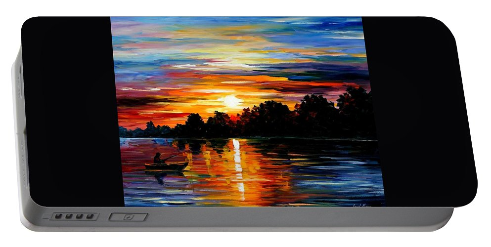 Afremov Portable Battery Charger featuring the painting Life Memories by Leonid Afremov