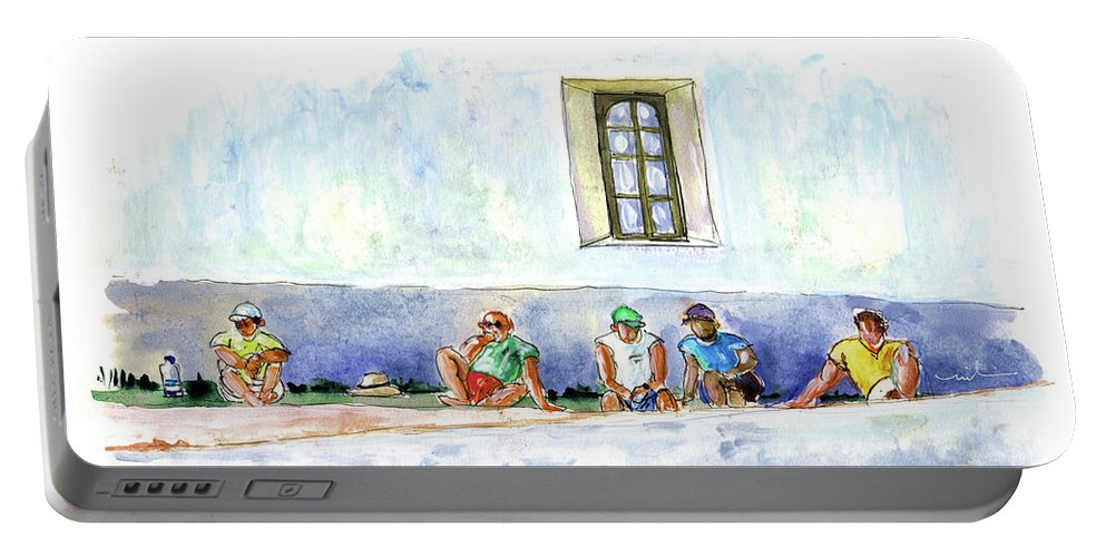 Travel Portable Battery Charger featuring the painting Life On Culatra Island by Miki De Goodaboom