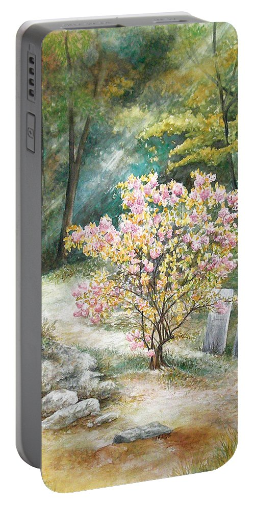 Landscape Portable Battery Charger featuring the painting Life by Valerie Meotti