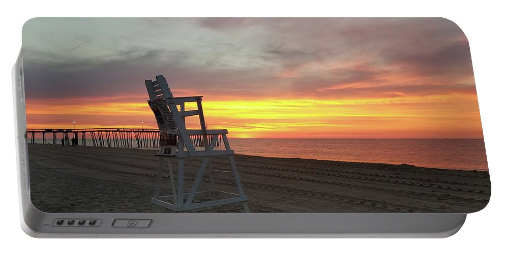 Lifeguard Portable Battery Charger featuring the photograph Lifeguard Stand On The Beach At Sunrise by Robert Banach
