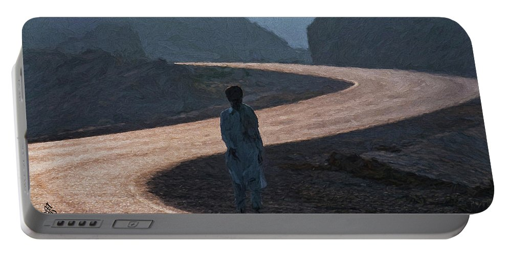 Lone Walk Portable Battery Charger featuring the photograph Life's S Curves by Syed Muhammad Munir ul Haq