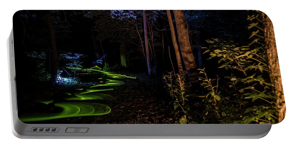 Light Painting Portable Battery Charger featuring the photograph Lighit Painted Forest Scene by Sven Brogren