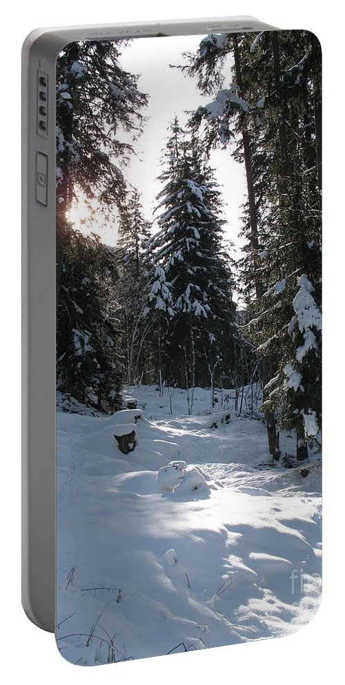 Snow Portable Battery Charger featuring the photograph Light And Shadow On A Snowy Landscape by Christiane Schulze Art And Photography