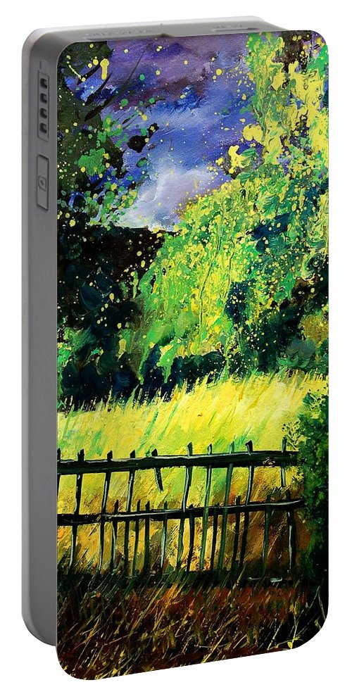 Spring Portable Battery Charger featuring the painting Light Before The Storm by Pol Ledent