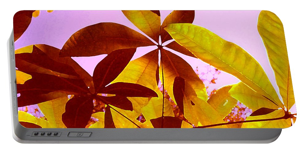 Garden Portable Battery Charger featuring the painting Light Coming Through Tree Leaves 1 by Amy Vangsgard