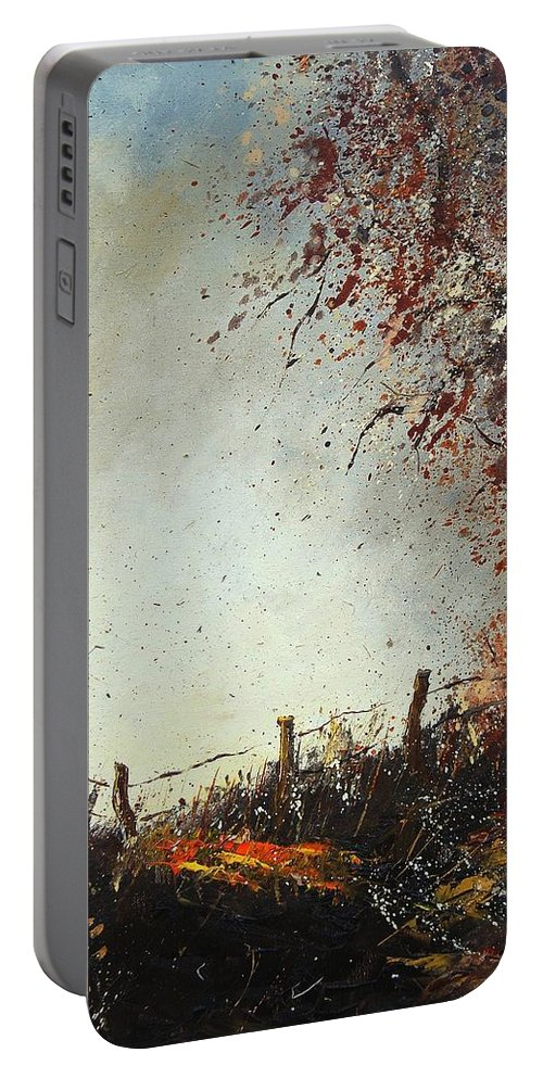 Tree Portable Battery Charger featuring the painting Light In Autumn by Pol Ledent