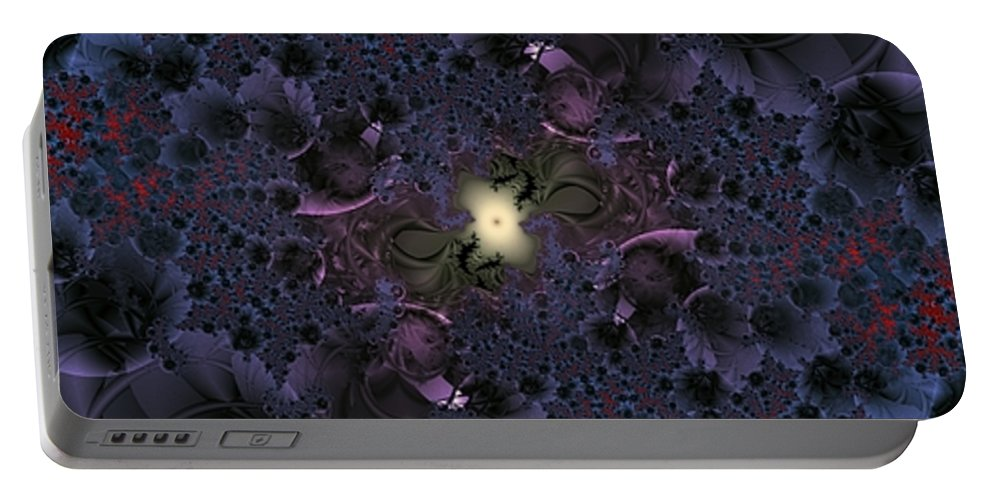 Fractal Portable Battery Charger featuring the digital art Light In The Fractal Night by Ron Bissett