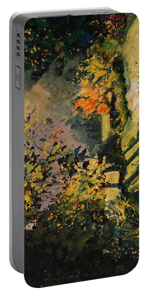 River Portable Battery Charger featuring the painting Light in the wood by Pol Ledent