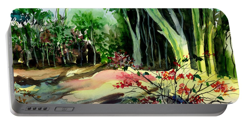 Watercolor Portable Battery Charger featuring the painting Light In The Woods by Anil Nene