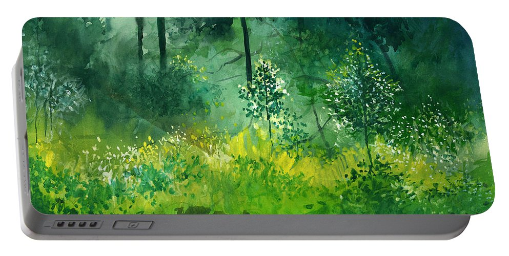 Water Portable Battery Charger featuring the painting Light N Greens by Anil Nene