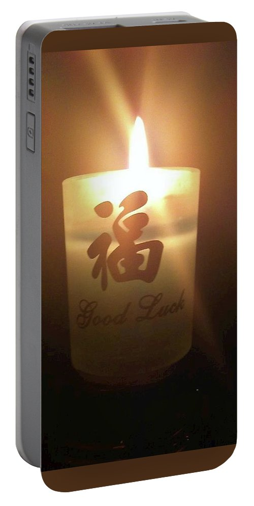 Candle Portable Battery Charger featuring the photograph Light Of Luck by Viki Velazquez