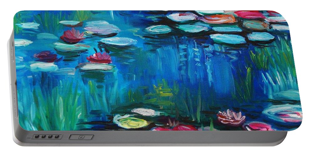 Water Lillies Portable Battery Charger featuring the painting Light Of The Lillies by Elizabeth Robinette Tyndall