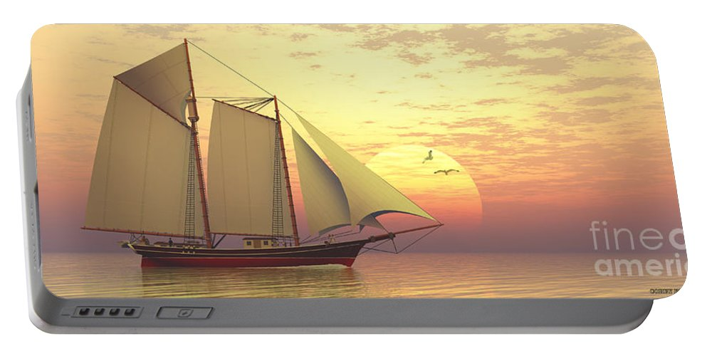 Sailing Portable Battery Charger featuring the painting Light Of The Sun by Corey Ford